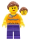 Minifig No: twn230  Name: Orange Halter Top with Medium Blue Trim and Flowers Pattern, Dark Purple Legs, Reddish Brown Ponytail and Swept Sideways Fringe