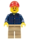 Minifig No: twn246  Name: Plaid Button Shirt, Dark Tan Legs, Red Cap with Hole - Adult