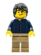Minifig No: twn255  Name: Plaid Button Shirt, Dark Tan Legs, Black Tousled Hair