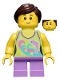 Minifig No: twn265  Name: Girl, Dolphin Top, Short Medium Lavender Legs, Dark Brown Ponytail and Swept Sideways Fringe