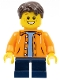 Minifig No: twn267  Name: Orange Jacket with Hood over Light Blue Sweater, Dark Blue Short Legs, Dark Brown Short Tousled Hair