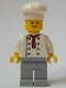 Minifig No: twn269a  Name: Baker (Chef) - White Torso with 8 Buttons, No Wrinkles Front or Back, Light Bluish Gray Legs
