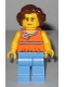 Minifig No: twn276  Name: Orange Halter Top with Medium Blue Trim and Flowers Pattern, Medium Blue Legs, Reddish Brown Hair Short Wavy