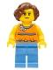 Minifig No: twn276  Name: Orange Halter Top with Medium Blue Trim and Flowers Pattern, Medium Blue Legs, Reddish Brown Hair Short Wavy