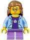 Minifig No: twn289  Name: Girl, Bright Light Blue Hoodie, Medium Lavender Short Legs, Medium Nougat Female Hair Mid-Length, Glasses