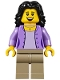 Minifig No: twn290  Name: Mom, Medium Lavender Jacket over Lavender Shirt, Dark Tan Legs, Black Hair