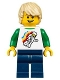 Minifig No: twn296  Name: Boy - Classic Space Minifigure Floating Pattern, Dark Blue Legs, Tan Tousled Hair