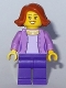 Minifig No: twn299  Name: Mom - Medium Lavender Jacket over Lavender Shirt, Dark Purple Legs, Dark Orange Female Hair Short Swept Sideways