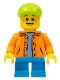 Minifig No: twn300  Name: Boy - Orange Jacket with Hood over Light Blue Sweater, Dark Azure Short Legs, Lime Cap