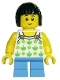 Minifig No: twn322  Name: Child, Halter Top with Green Apples and Lime Spots, Medium Blue Short Legs