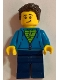 Minifig No: twn331  Name: Man, Green Striped Shirt under Dark Blue Hoodie, Dark Brown Hair, Dark Blue Legs