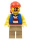 Minifig No: twn332  Name: Pirate Man, Striped Red and White Shirt Under Blue Vest, Red Bandana, Left Eye Patch and 3 Gold Teeth, Dark Tan Legs
