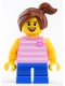Minifig No: twn338  Name: Girl with Bright Pink Top and Ponytail