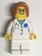 Minifig No: twn344  Name: Doctor - EMT Star of Life, White Legs, Dark Orange Hair Ponytail Long with Side Bangs, Glasses