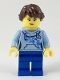 Minifig No: twn348  Name: Female, Dark Brown Hair with Long Braid, Bright Light Blue Hoodie, Blue Legs (Ludo Blue)