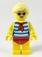 Minifig No: twn352  Name: Female with Blond Hair, Medium Lavender Sunglasses, Red Scarf, Blue Striped Shirt, Red Swimsuit (Yellow Ludo)