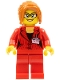 Minifig No: twn354  Name: Reporter, Female, Dark Orange Hair with Sidebangs, Glasses, Red Blazer with Press Pass (Red Ludo)
