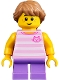 Minifig No: twn356  Name: Child Girl with Long Medium Nougat Braid, Bright Pink Striped Cat Shirt and Medium Lavender Legs