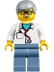 Minifig No: twn357  Name: Veterinarian Dr. Jones with Light Bluish Gray Hair, Glasses, Red Stethoscope and Sand Blue Legs