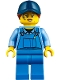 Minifig No: twn358  Name: Mechanic Female with Dark Blue Cap, Dark Orange Ponytail, Medium Blue Shirt and Blue Overalls