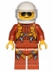 Minifig No: twn364  Name: Pilot - Dark Orange Jumpsuit, Dark Orange Legs with Straps, White Helmet, Trans-Clear Visor, Black and Silver Sunglasses