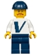 Minifig No: twn366  Name: Male with Vestas Logo on Torso, Dark Blue Legs, Dark Blue Construction Helmet, Moustache