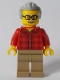 Minifig No: twn368  Name: Grandfather with Flannel Shirt, Dark Tan Legs, Light Bluish Gray Hair