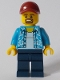 Minifig No: twn369  Name: Man with Hawaiian Shirt, Dark Blue Legs, Dark Red Cap