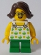 Minifig No: twn370  Name: Child Girl with Halter Top with Green Apples and Lime Spots, Green Short Legs