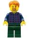 Minifig No: twn371  Name: Man with Plaid Button Shirt, Dark Green Legs, Dark Orange Hair