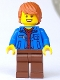Minifig No: twn378  Name: Male with Blue Jacket over Dark Red V-Neck Sweater and Reddish Brown Legs