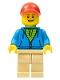Minifig No: twn380  Name: Man, Dark Azure Hoodie with Green Striped Shirt, Tan Legs, Red Cap