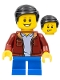 Minifig No: twn382  Name: Boy, Dark Red Jacket with Light Bluish Gray Shirt, Dark Brown Hair, Blue Short Legs