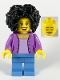 Minifig No: twn385  Name: Female, Bushy Black Hair, Medium Azure Jacket on Lavender Shirt, Medium Blue Legs