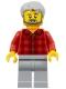 Minifig No: twn387  Name: Male, Light Bluish Gray Hair, Dark Bluish Gray Beard, Red Flannel Shirt, Light Bluish Gray Legs