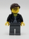 Minifig No: twn391  Name: Female with Striped Black and White Shirt, Black Jacket, Dark Bluish Gray Legs, Dark Brown Hair