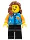 Minifig No: twn393  Name: Female with Sports Jacket, Black Legs, Reddish Brown Hair