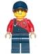 Minifig No: twn395  Name: Female Mechanic with Dark Blue Overalls and Legs, Dark Orange Ponytail with Dark Blue Ball Cap