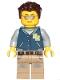 Minifig No: twn396  Name: Male Driver with Dark Blue Jacket, Dark Tan Legs with Dark Bluish Gray Splotches, Dark Brown Hair