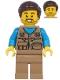 Minifig No: twn398  Name: Male with Dark Tan Vest Over Dark Azure Shirt, Dark Tan Legs, Dark Brown Hair