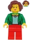 Minifig No: twn399  Name: Female with Green Jacket, Red Legs, Reddish Brown Hair