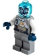 Minifig No: twn401  Name: Cyber Drone Robot - Flat Silver Spacesuit with Harness and White Panel with Classic Space Logo, Trans-Light Blue Head