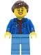 Minifig No: twn409  Name: Woman - Blue Jacket over Dark Red V-Neck Sweater, Medium Blue Legs, Dark Brown Hair