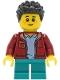 Minifig No: twn410  Name: Boy - Dark Red Jacket, Dark Turquoise Short Legs, Black Hair