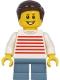 Minifig No: twn415  Name: Boy - White Sweater with Red Horizontal Stripes, Sand Blue Short Legs, Dark Brown Hair