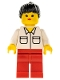 Minifig No: vel002  Name: Shirt with 2 Pockets, Red Legs, Black Ponytail Hair