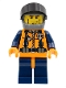 Minifig No: wc017  Name: Coast Guard World City - Orange Torso with Straps, Dark Bluish Gray Helmet, Black Visor