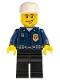Minifig No: wc026  Name: Police - World City Patrolman, Dark Blue Shirt with Badge and Radio, Black Legs, White Cap