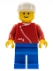 Minifig No: zip014  Name: Jacket with Zipper - Red, Blue Legs, White Cap