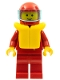 Minifig No: zip022  Name: Jacket with Zipper - Red, Red Legs, Red Helmet, Trans-Light Blue Visor, Life Jacket